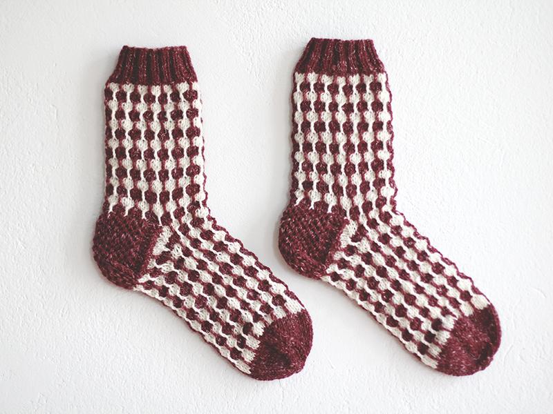 Image of Organic white dots Bordeaux socks