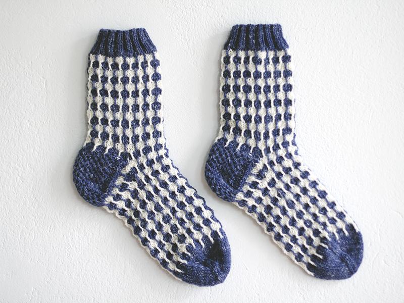 Image of Organic white dots blue socks