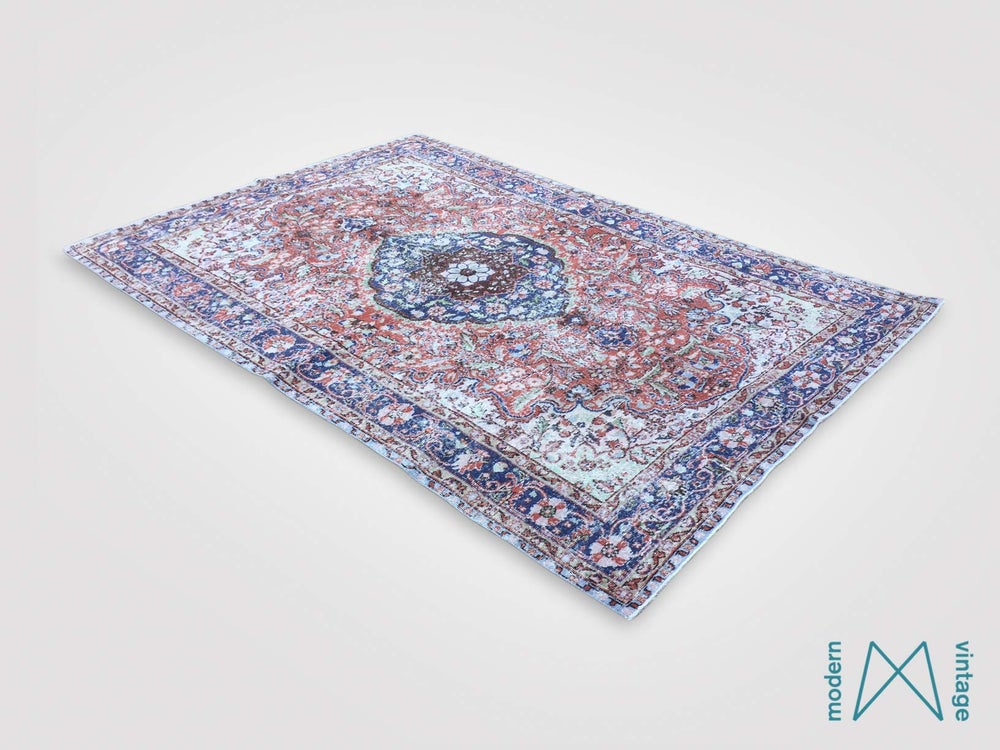 Image of Recoloured vintage persian rug in red and blue