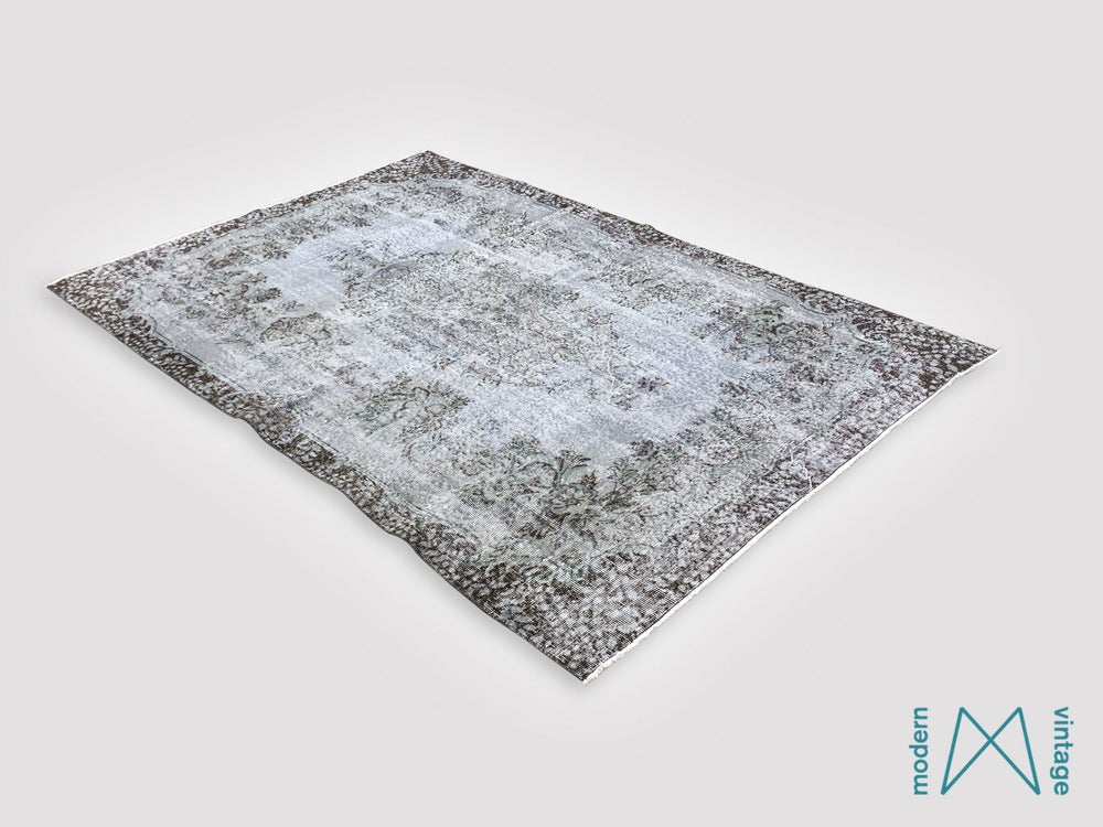 Image of Recoloured vintage persian rug in green and grey