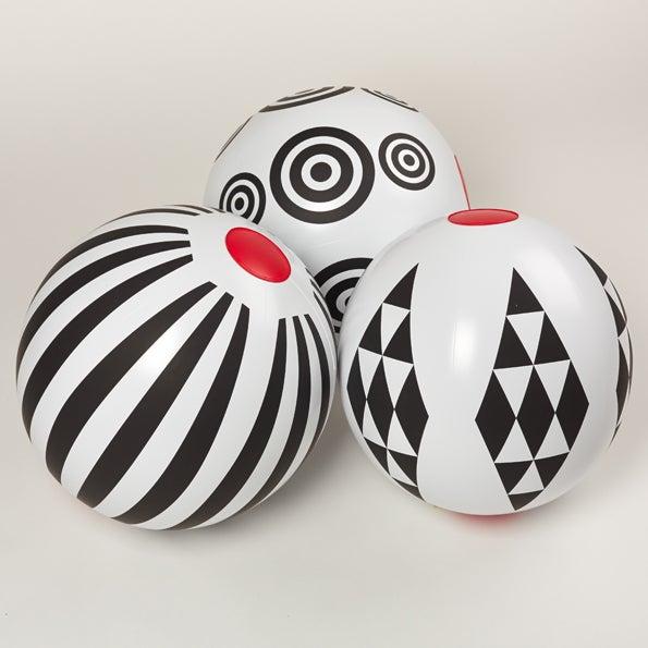 Image of Black & White Beach Ball - stripes