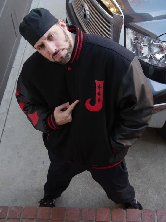 Image of RED on BLACK Legacy Letterman Jokerr Jacket