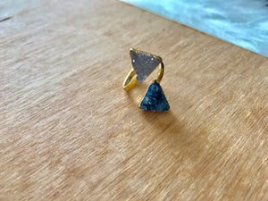 Image of Blue & White Triangle Druzy Ring