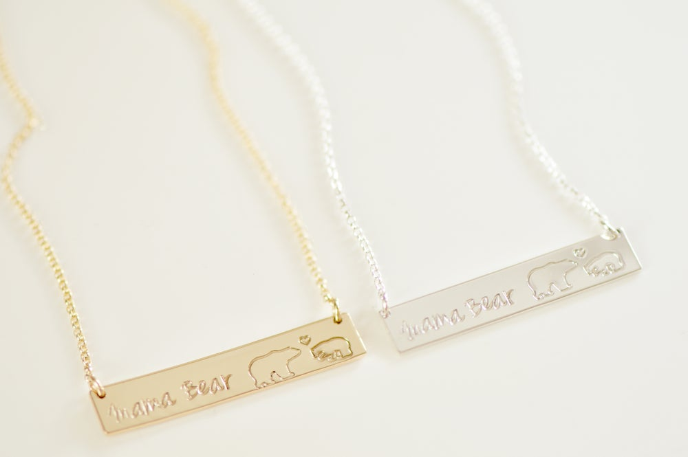 Image of Mama Bear Bar Necklace - Mama - Baby Bear Bar Necklace - Nameplate - Mother's Bar Necklace