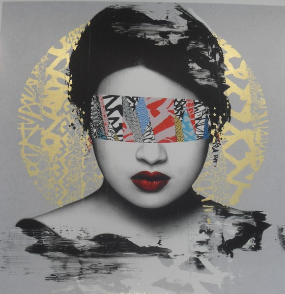 "Image of HUSH - ""HALO"" 16 COLOUR SCREENPRINT, 22CT GOLD LEAF - LTD ED 50 - 60CM X 60CM"