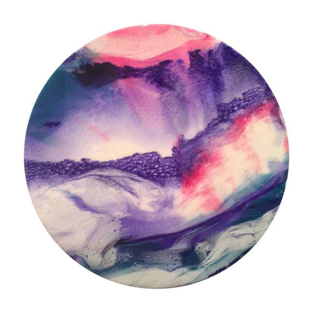 "Image of ""Swept Away"" 50cm round resin artwork"