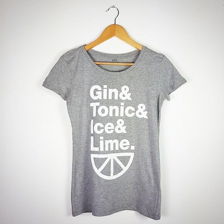 Image of Gin & Tonic & Ice & Lime. - Ladies Melange Grey T-Shirt