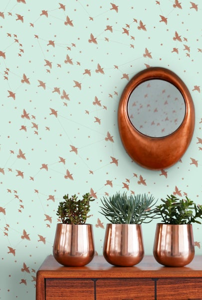 Image of Star-ling Wallpaper - Pale Verdigris & Copper