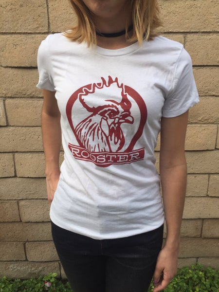 Image of Women's white Rooster T