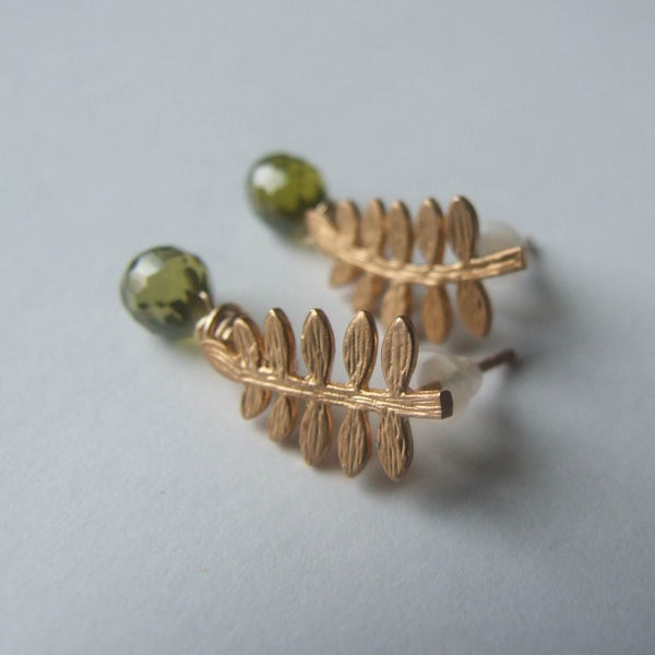 Image of Tiny Fern Frond Earrings