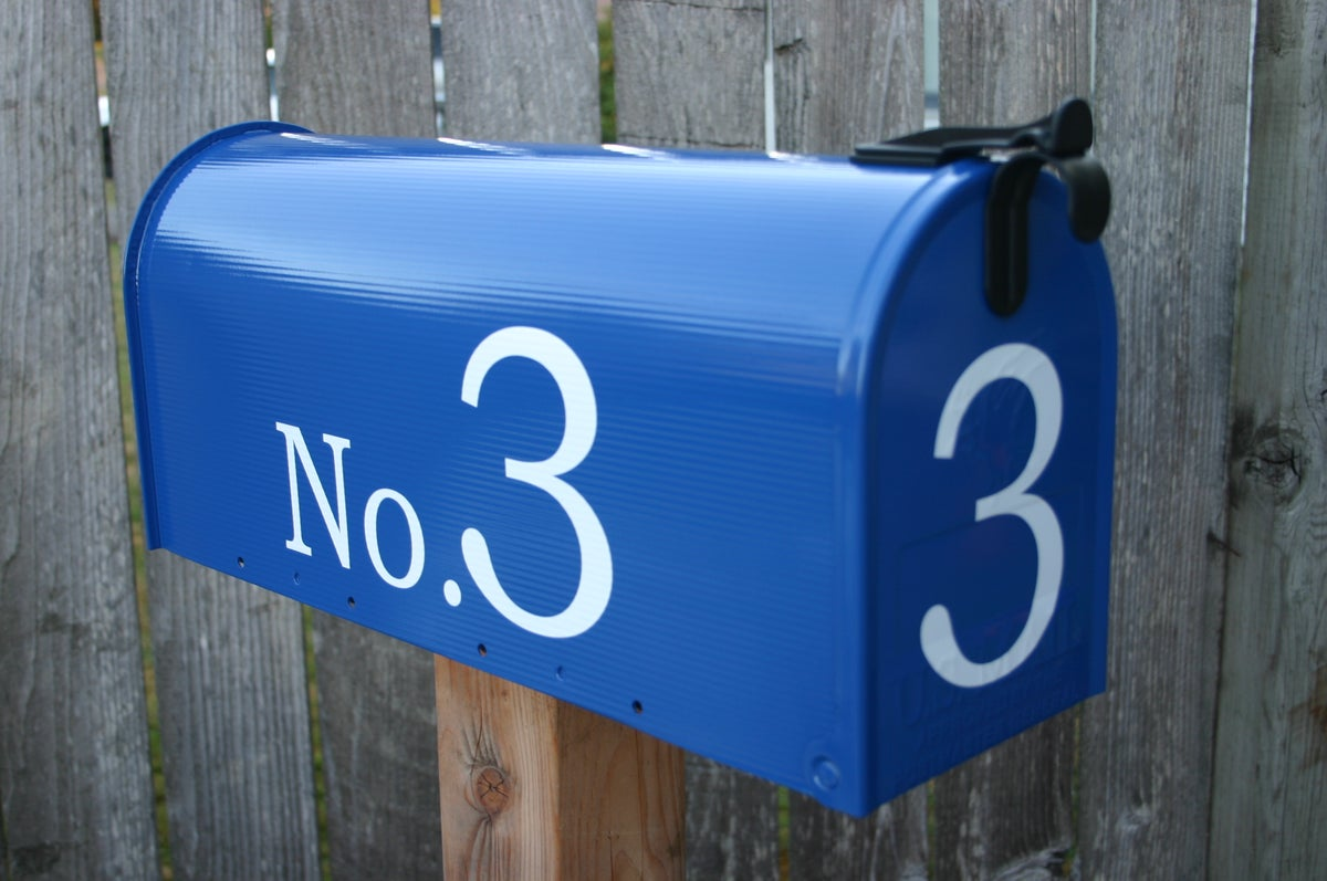 Deep Blue Painted Mailbox By Thebusbox Choose Your Color