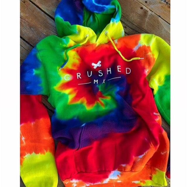 Image of Crushed MX Rainbow Tie Dye Hoodie