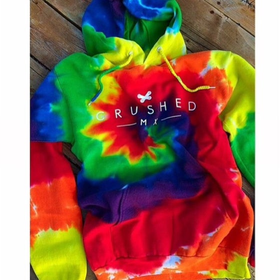 Image of Crushed MX Rainbow Tie Dye Hoodie