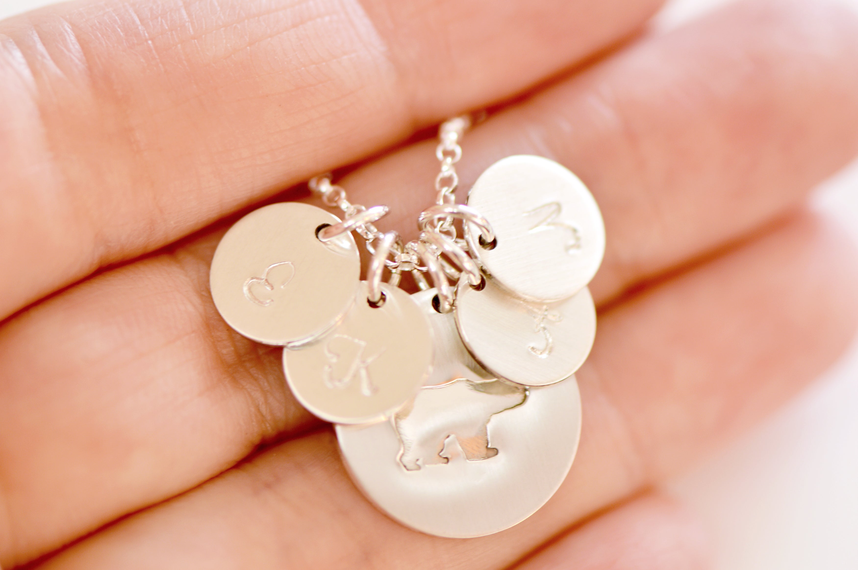 Sterling Silver Mama Bear Initial Disc Necklace Mama