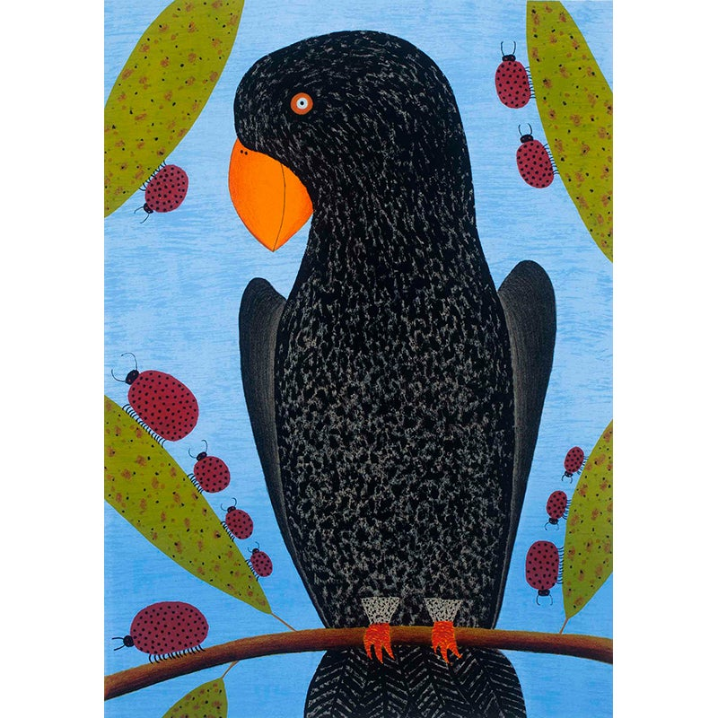 Image of Parrot with Ladybird Family - Lithograph