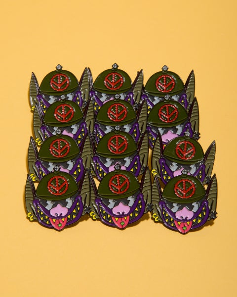 Image of Nuclear Biker Bats from Hell Enamel Pin