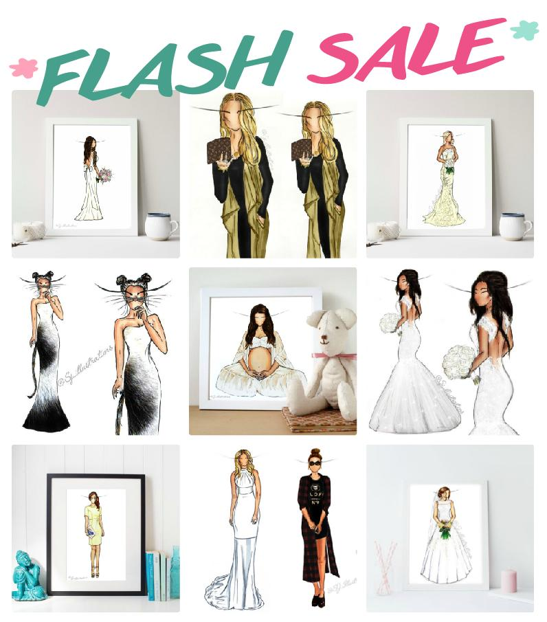Image of *FLASH SALE* Illustration - Bridal - Fashion - Graduation - Prom - Maternity - Birthday