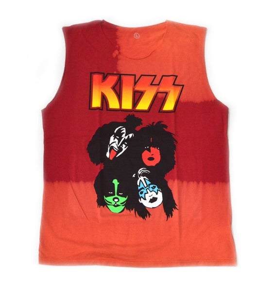 """Image of Kiss Sleeveless Bleached """"Red & Orange"""""""