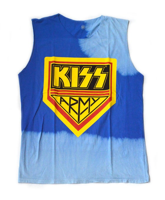 """Image of Kiss Army Sleeveless Bleached """"Blue"""""""