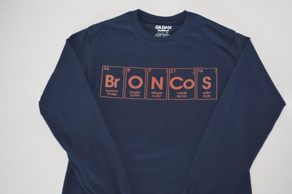 Image of periodic broncos. - long sleeve graphic tee