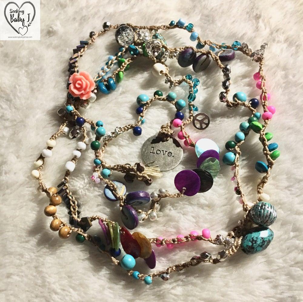 Image of Boho Chic Crochet Wrap: Peace, Love, & Flowers