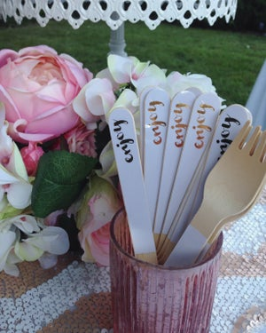 Image of {Enjoy} Gold Foil Wooden Spoons