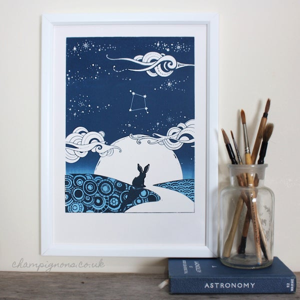 Image of Little Hare, Big Sky A4 personalised screenprint for abundance