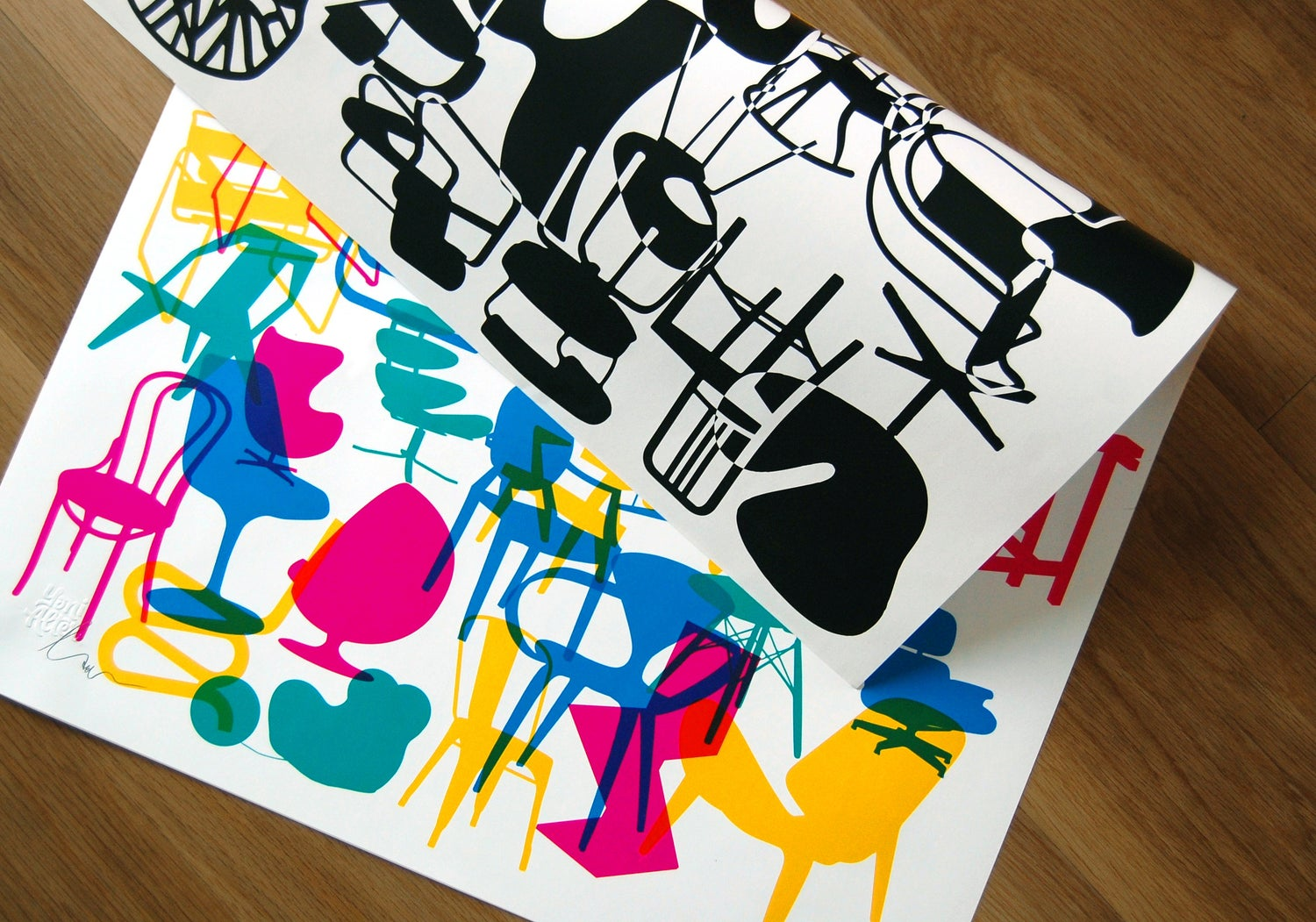 Image of Shapes of iconic chairs. Double sided poster