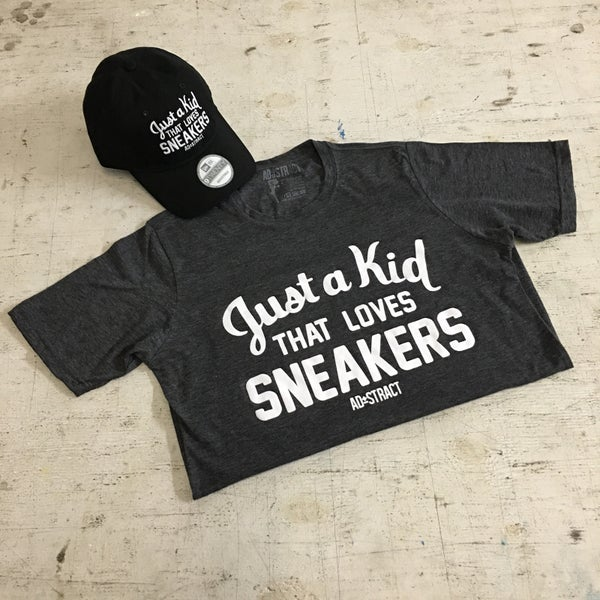 Image of JUST A KID THAT LOVES SNEAKERS (CHARCOAL/WHITE) T-SHIRT
