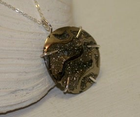 Image of SYN Original designs~ pyrite pendant in sterling silver setting