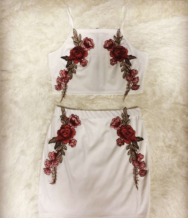Image of White embroidered two-piece skirt