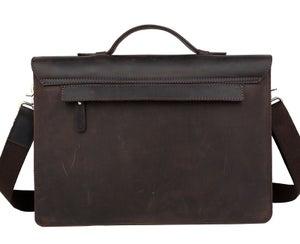 """Image of Vintage Handmade Antique Leather Briefcase / Messenger / 13"""" MacBook 13"""" 14"""" Laptop Bag (n15)"""