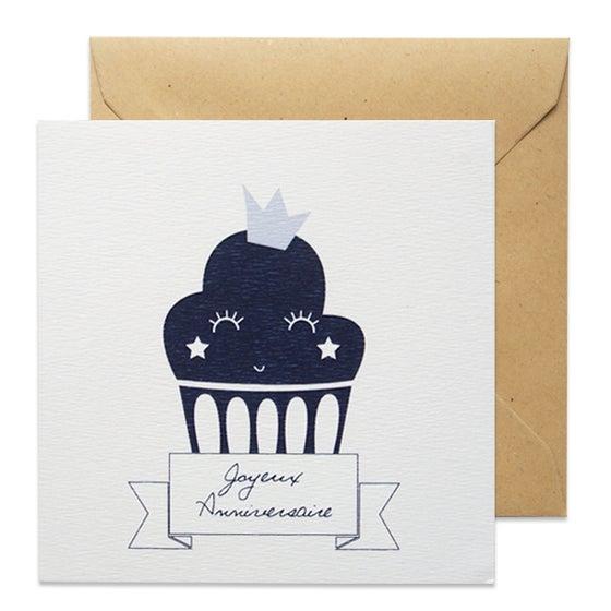 Image of Carte Cupcake Bleu