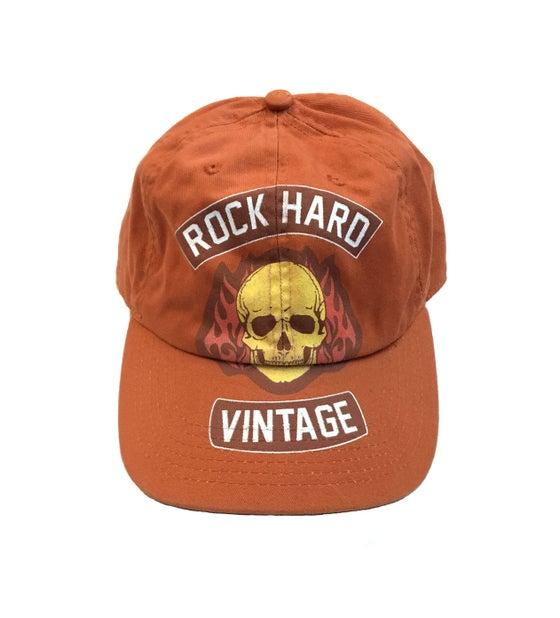 """Image of Rock Hard Vintage """"Skull Biker"""" Dad Hat """"Orange"""""""