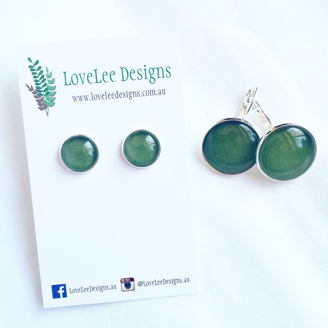 Image of Earrings - Forest green