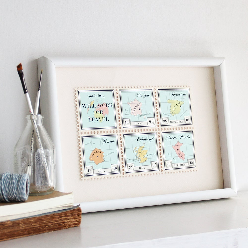 Image of Personalised Destination Stamps Print