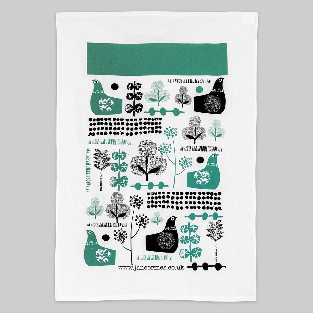 Image of Suspicious birds hand printed cotton tea towel