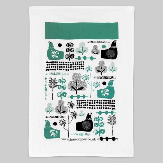 Image of Suspicious birds hand printed cotton tea towel