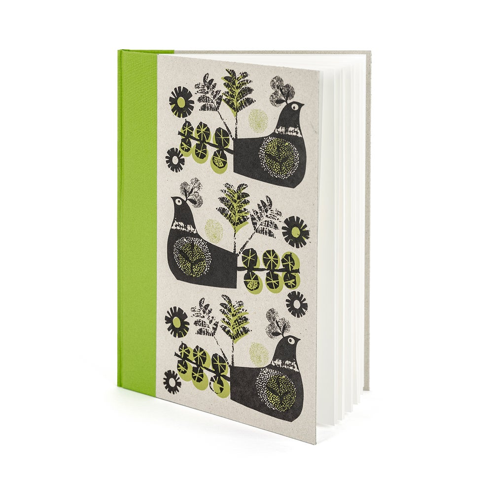 Image of Birds  A4 handprinted green spined sketchbook