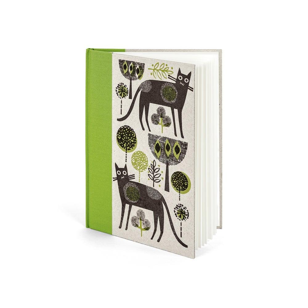 Image of Cat A5 green handprinted hardbacked sketchbook