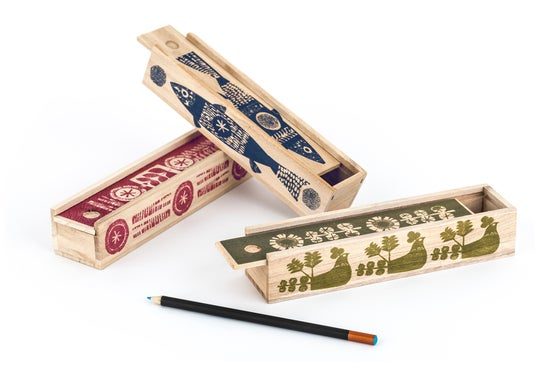 Image of Handprinted wooden pencil box with sliding lid
