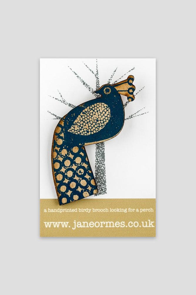 Image of Blue handprinted wooden brooch