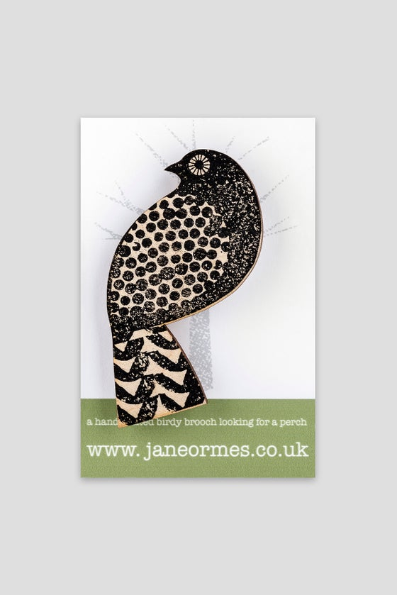 Image of Black speckled quail brooch