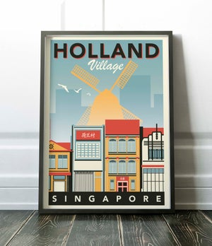 Image of Holland Village Vintage-Style Travel Poster