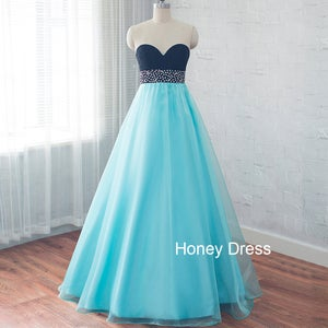 Image of Light Blue Tulle A-line Sweetheart Prom Dress, Pink Chiffon Beaded Floor Length Long Dresses