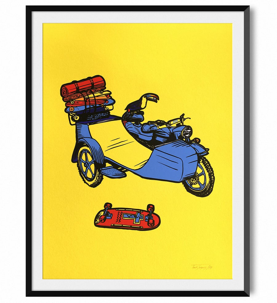 Image of Toucan Play That Game - skate ramp side-car Print - Yellow