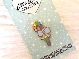 Image of Rainbow Candy Cane Enamel Pin