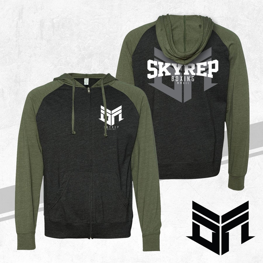 Image of SR Boxing Zip-Up Hoodie (Military Green)