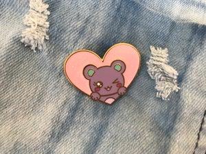 Image of Glitter Bear Heart v. 2 Enamel Pin