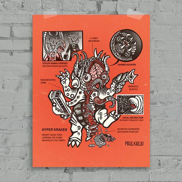 """Image of  Hyper Kraken Anatomy: 12 x 16""""  Poster"""